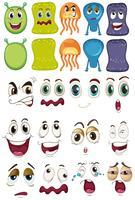 Monster och olika ansiktsuppsättning vektor