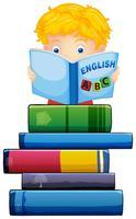 Junge, der ein Buch auf weißem Hintergrund liest vektor