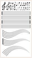 Blank musikpapper med olika anteckningar