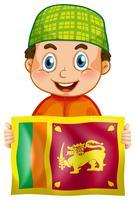 Glücklicher Junge und Flagge von Srilanka