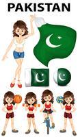Pakistan Flagge und viele Sportarten vektor