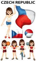 Tschechische Republik Flagge und viele Sportarten vektor