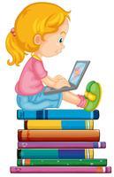 Junges Mädchen auf Laptop vektor