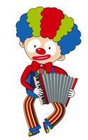 Glücklicher Clown, der Akkordeon spielt vektor