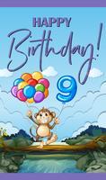 Grattis på födelsedagskortet i nio år vektor