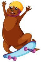 Glücklicher Otter, der Skateboard spielt vektor
