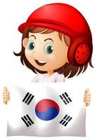Sött flicka och flagga i Sydkorea vektor
