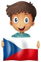 Glad pojke och flagga i Tjeckien