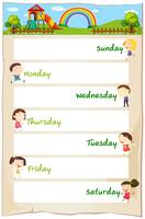 Dagarna i veckan affischen med glada barn