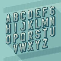 Slanted Vintage Retro 3D Sans Serif Striped Typografi vektor