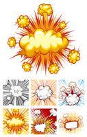 Verschiedene Designs von Explosionswolken