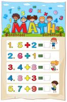 Addition Arbeitsblattvorlage für kleine Kinder vektor
