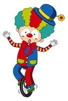 Glückliches Clownreiten auf Rad