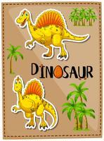 Affischdesign med två spinosaurus vektor