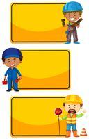 Gula skyltar med byggnadsarbetare