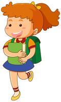 Schulmädchen mit Buch und Schultasche vektor