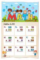 Math kalkylblad design för tillägg till 100
