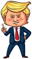 US-Präsident Trump zeigt mit dem Finger vektor