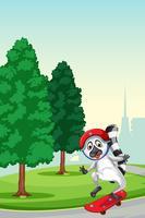 En lemur leker skateboard på parken vektor