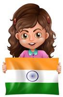 Gullig tjej och flagga i Indien