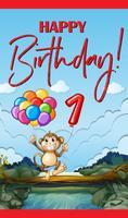 Grattis på födelsedagskort med apa och ballonger