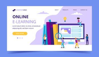 E-learning landningssida. Concept illustration för utbildning, böcker, universitet, studier, forskning, kurser.
