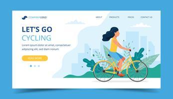 Cykling målsida. Kvinna cyklar i parken. Illustration för aktiv livsstil, träning, konditionsträning.