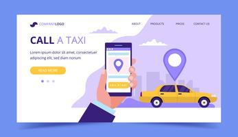 Rufen Sie eine Taxi-Landingpage an. Konzeptillustration mit dem Taxiauto und -hand, die einen Smartphone halten.