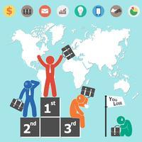 Geschäftsmann ist Sieger und Weltkarte und Geschäftsikone (flaches Design)