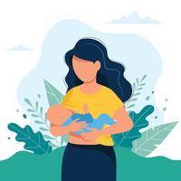 Stillenillustration, Mutter, die ein Baby mit der Brust auf natürlichem Hintergrund einzieht. Konzept-Illustration