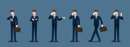 Satz des Geschäftsmannes in 6 verschiedenen Gesten. Menschen mit Geschäftscharakter posieren wie Warten, Kommunizieren und Erfolg haben. Vektor-Illustration-Design.