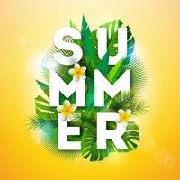 Vektor-Sommerferien-Illustration mit Typografie-Buchstaben und tropischen Palmblättern auf gelbem Hintergrund. Exotische Pflanzen und Blumen