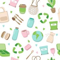 Nahtloses Muster des Nullabfallkonzeptes mit verschiedenen Elementen. Nachhaltiger Lebensstil, ökologisches Konzept.