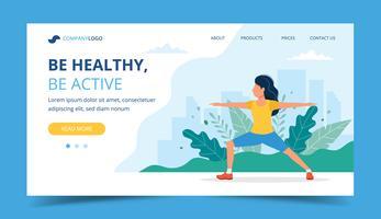 Kvinna gör övningar i parkens målsida, konceptillustration för hälsosam livsstil, utomhusaktiviteter, träning vektor