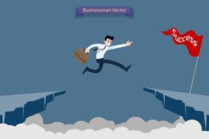 Furchtloser mutiger Geschäftsmann riskieren, indem er über die Schlucht, Klippe, Kluft springt, um seine Erfolgszielherausforderung seiner Karriere zu erreichen.