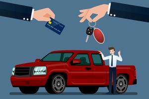 Der Autohändler tauscht, verkauft, mietet zwischen einem Auto und der Kreditkarte des Kunden. Vektor-Illustration-Design.