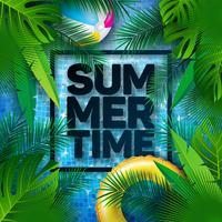Sommarillustration med flottör och tropiska palmblad på vatten i kaklat poolbakgrund. Vektor sommar semester design mall