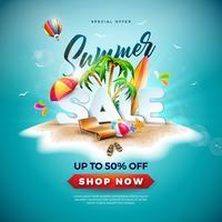 Sommerschlussverkauf-Design mit Wasserball und exotischer Palme auf Tropeninsel-Hintergrund. Vektor-Sonderangebot-Illustration mit Feiertags-Elementen für Kupon