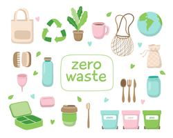 Nollavfall koncept illustration med olika element. Hållbar livsstil, ekologiskt koncept.