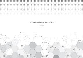 Abstrakt grå hexagons mönster molekyl på vit bakgrund med halvtonstextur. Geometriska element för designmall modern kommunikation, medicin, vetenskap och digital teknik.