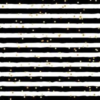 Abstrakt svartvitt randig på trendig bakgrund med slumpmässigt guldfolie prickmönster. Du kan använda till gratulationskort eller papper, textil, förpackning etc. vektor