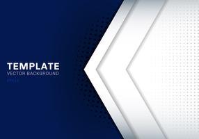 Weißer Pfeil der Schablone, der mit Schatten auf dunkelblauem Hintergrundraum für Text- und Mitteilungsgrafikdesign-Technologiekonzept überschneidet