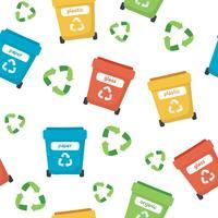 Überschüssiges sortierendes Muster mit verschiedenen bunten Mülltonnen, Konzeptillustration für die Wiederverwertung, Ökologie, Nachhaltigkeit