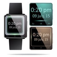 Realistiska smartwatches på vit bakgrund