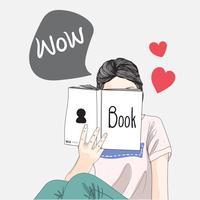 Tjej läser vår semester bok.She älskar att läsa.Doodle konst koncept, illustraGirl läser vår semester bok.She älskar att läsa.Doodle konst koncept, illustration paintingtion målning