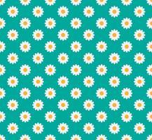 Nahtloses Muster der Gänseblümchenblume auf einem grünen Pastellhintergrund - Vector Illustration