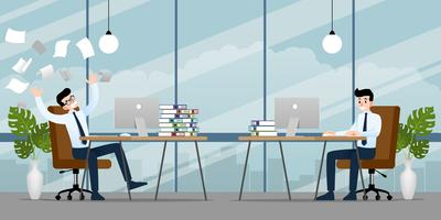 Geschäftsmann, arbeiten in verschiedenen Emotionen. Zwei Geschäftsleute haben eine gegensätzliche Arbeitssituation, die eine ist erledigt, die andere ist sehr verwirrt und beschäftigt. Abbildung Vektor-Design.