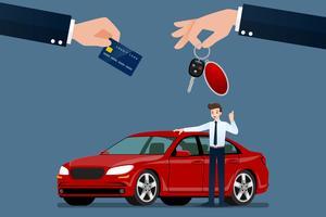 Bilhandlaren gör en utbyte, försäljning, hyra mellan en bil och kundens kreditkort. Vektor illustration design.