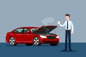 Geschäftsmann, der einen Handy und einen Anruf für Versicherung hält, als sein Auto defekt war.