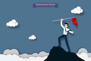 Glücklicher Geschäftsmann, der eine rote Fahne auf die Oberseite des hohen Berges hält. Erfolg, Ziel, Leistung und Herausforderungskonzept.